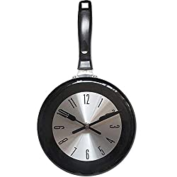 LWLH Wall Clock, 10 inch Metal Frying Pan Kitchen Wall Clock Home Decor - Kitchen Themed Unique Wall Clock with a Screwdriver,Black