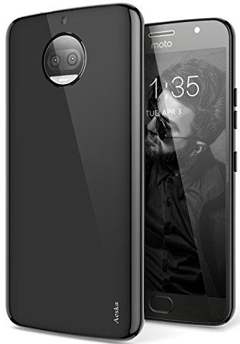 Moto G5S Plus Case, Aeska Ultra [Slim Thin] Flexible TPU Gel Rubber Soft Skin Silicone Protective Case Cover for Motorola Moto G5S Plus (Black)