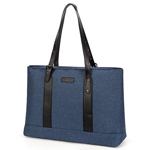 (Utotebag Women Laptop Tote Bag, 15.6 Inch Notebook Ultrabook Shoulder Bag Lightweight Nylon Briefcase Classic Handbag Handle Adjustable Work Travel Business Bag (Blue))