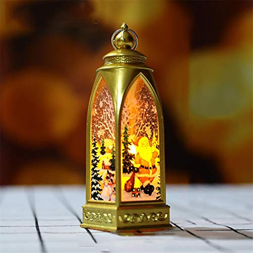 Thenxin Christmas Vintage Lantern Glitter Snow Globe Tabletop Lentern for Indoor Outdoor Festival New Year Hanging Decoration(Gold,4.7 x 4.7 x 15.8cm)