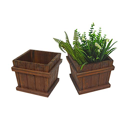 - Leisure Season Chatham Tapered Wooden Planter Set of 2 Square, Brown