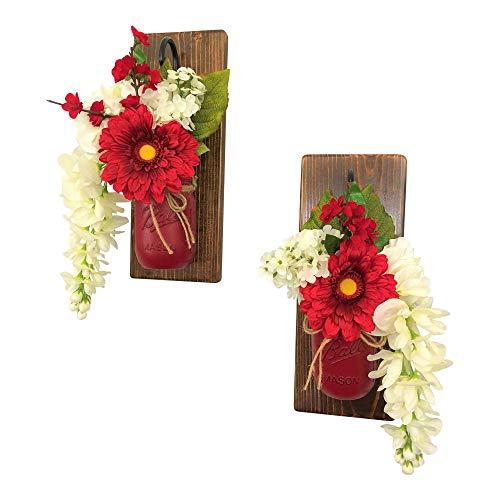 Set of 2 Crimson Beauty Mason Jar Wall Sconces Floral Arrangements