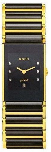 (Rado Integral Jubile Black Diamond Dial Two Tone Ceramic Ladies Watch R20788752)