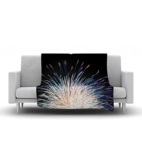 Kess InHouse Jillian Audrey Firework Black Pastel Fleece Throw Blanket 60 by 50