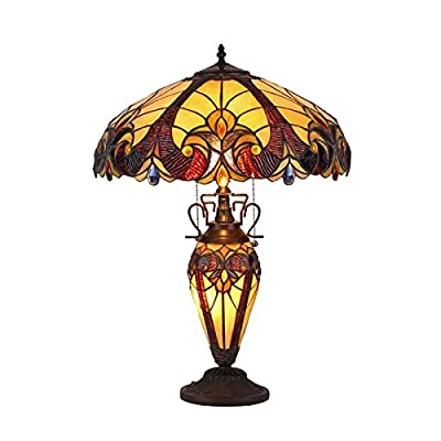 "Chloe Lighting CH38632AV18-DT3 Tiffany Style 3 Light Victorian Double Lit Table Lamp 18"" Shade, Multi"