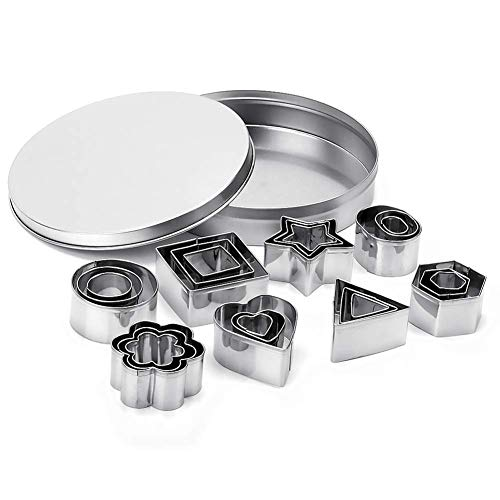 (Cookie Cutter Set, Geometric Shapes Cutters, Metal Fondant Cutters Including Hexagon Square Heart Triangle Round Tiny Circle Molds for Pastry, Fondant, Donuts, Clay, Kicthen Baking Stainless Steel)