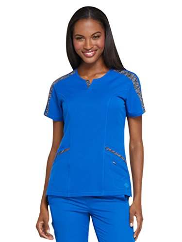 Dickies Dynamix Women's Shaped V-Neck Solid Scrub Top Large Royal