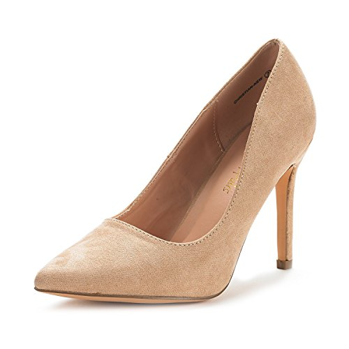 DREAM PAIRS Women's Christian-New Nude Suede High Heel Pump Shoes - 6 M US