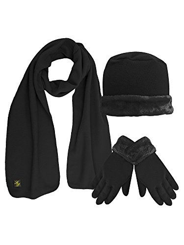Black Plush Fur Trim Fleece 3 Piece Hat Scarf & Glove Set (Beret Scarf Set)