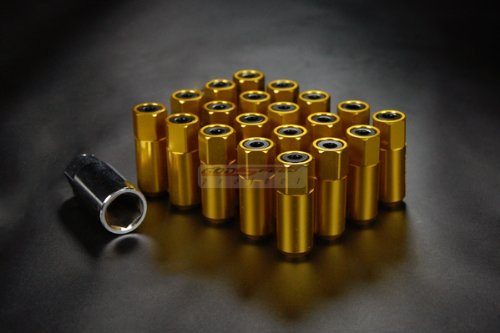 GSP Type 5 Wheel Rim Racing Lug Nuts 55mm 20 Piece M12 X 1.25 mm Open/close End Gold Color