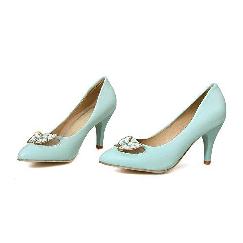 VogueZone009 Damen Hoher Absatz Eingelegt Ziehen auf Weiches Material Rund Zehe Pumps Schuhe, Golden, 42
