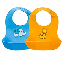 [2 Pack] Silicone Bibs, iKuboo Portable Foldable Silicone Baby Bibs with Pocket for Babies and Toddler-Blue & Orange