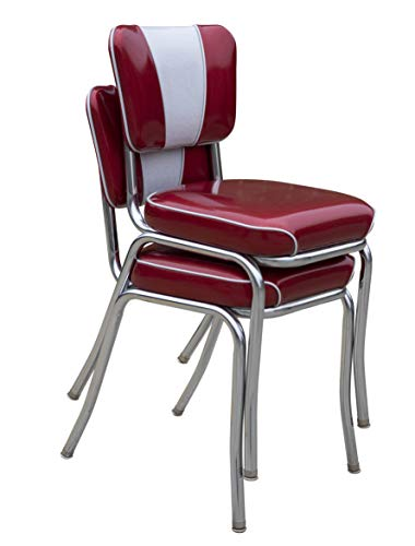 (Set of Two - Glitter Red/Silver Stackable Retro Home Diner Chairs - Made in The USA)