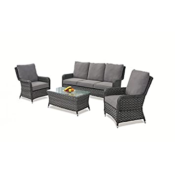 Awe Inspiring Madrid Rattan High Back 3 Seat Sofa Set Caraccident5 Cool Chair Designs And Ideas Caraccident5Info