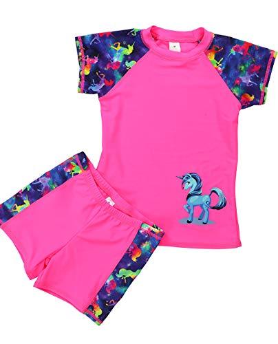 Kids Two Piece Rash Guard Swimwear, Short Sleeves Unicorn Rashguard Set Swimsuits UPF50+ Bathing Suits