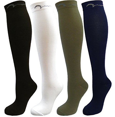 (4 Pair Youth Graduated Compression Socks Great for Soccer, Baseball, Basketball, Football and Other Sports (Black, White, Khaki, Navy Blue, Medium-Fits Ages 10-16))