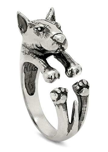 (Silver-Wear Swirls Sterling Silver Antique Finish Bull Terrier Dog Wrap Ring)