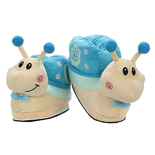 Unisexe de Chaussures 40EU Flanelle Doux Escargot Maison Adulte Hiver Taille 35 Pantoufles Chaussons Animeaux Bleu Chaud wxXF8FUnSq