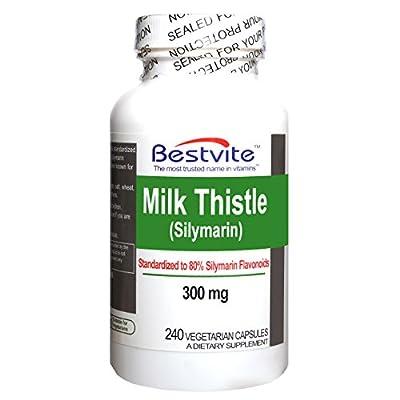 Milk Thistle 300mg (240 Vegetarian Capsules) - Standardized to 80% Silymarin Flavonoids