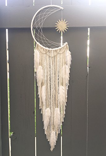 Sun and Moon Dreamcatcher, Sun Wallhanging, Moon Decor, Clay Art, Bohemian Dream Catcher, Large Dreamcatcher, Nursery Decor, Modern Dream Catcher, Rustic Decor, Boho Wall Decor, Hippie Decor