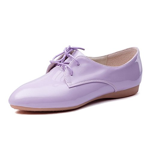 Allhqfashion Dames Lakleer Effen Vetersluiting Open Teen Met Lage Hakken Pumps-schoenen Paars