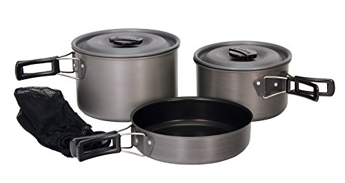 (Texsport Black Ice The Scouter 5 pc Hard Anodized Camping Cookware Outdoor Cook Set with Storage Bag)