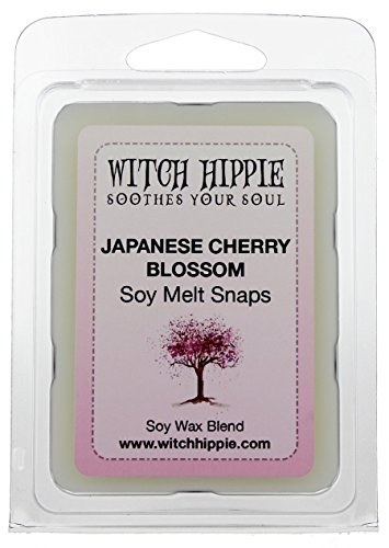 (Witch Hippie Japanese Cherry Blossom Scented Wickless Candle Tarts, 6 Natural Soy Wax Cubes, A Botanical Blend Of Japanese Cherry Blossoms, Jasmine, Fruit Nuances, Lilies Cedar Wood & Light Musk )