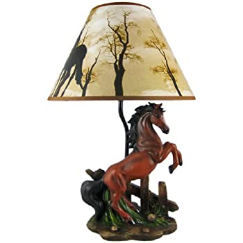 Beautiful Resin Table Lamps Brown Stallion Horse Table Lamp W/Nature Print  TP88