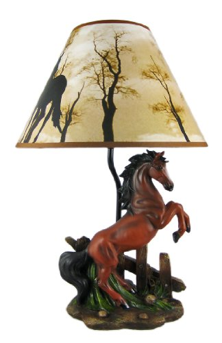 Resin Table Lamps Brown Stallion Horse Table Lamp W/Nature Print Shade 12 X 18.5 X 12 Inches Brown