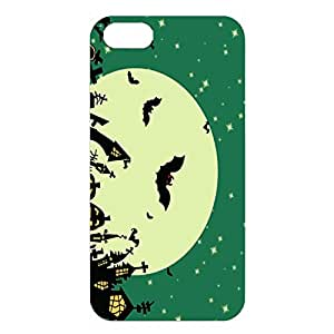 Halloween Green Sky Moon Star Night Cool Back Hardshell 3D Cover for Iphone 4/4S