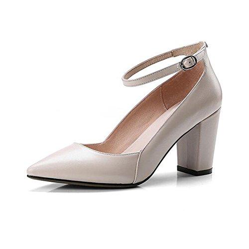 CJC Chaussure Cuir Rugueux Talon Unique Chaussures Un Bouton Boucle Pointu Femelle Travail Chaussures (Couleur : B, Taille : EU36/UK3.5) C