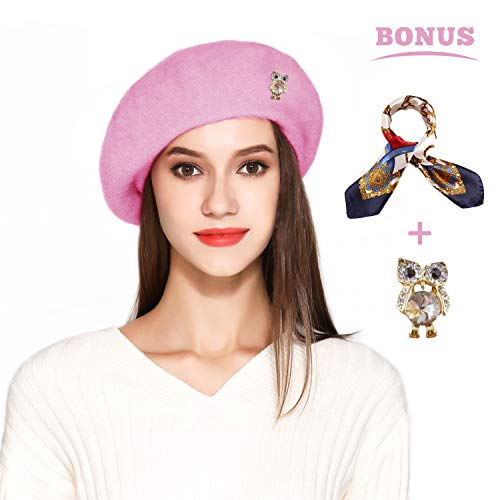 Wool Beret Hat Solid Color French Artist Beret with Skily Scarf and Brooch (Pink)