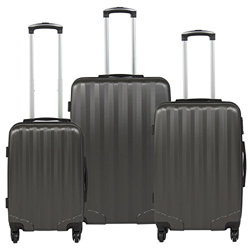 Hardshell 3 Piece Luggage Set Spinner Travel Bag W/ TSA Lock- Gray + FREE E - Book by Eight24hours