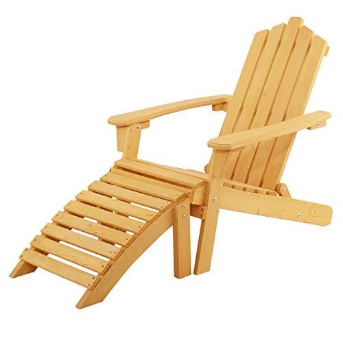 Giantex Wood Adirondack Chair w/Ottoman Outdoor Patio Deck Garden Lounge Furniture ()