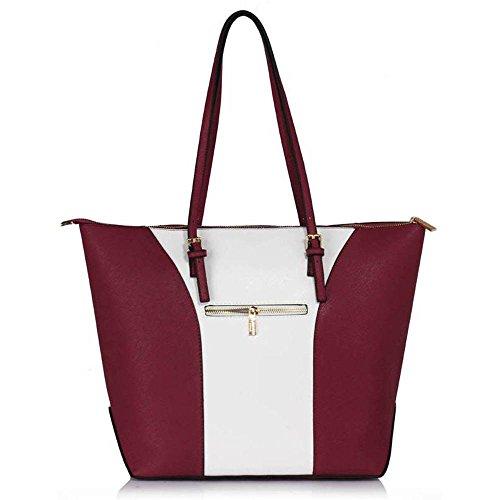 TrendStar Mujeres Bolsas De Créateurs hombro de patente bolsos de damas de moda Fourre Tout E - Burgundy/White