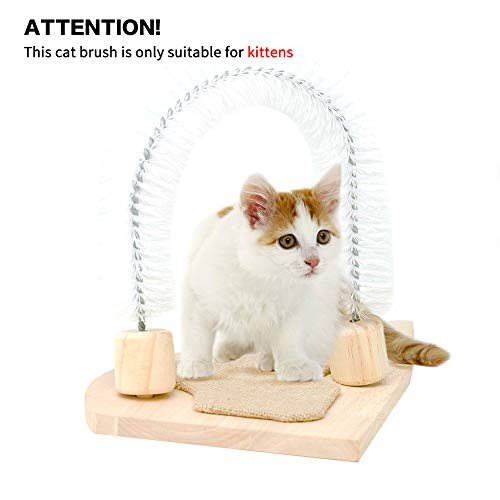 MEWANG Cat Scratcher Grooming Arch Kitten Self Interactive Groomer Toys Pet Scratcher Morden Kitty Rubbing Brush with Scratch Pad 7.9