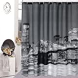 Soft Touch Fabric City Night View Bathing Waterproof Bathroom Shower Curtain