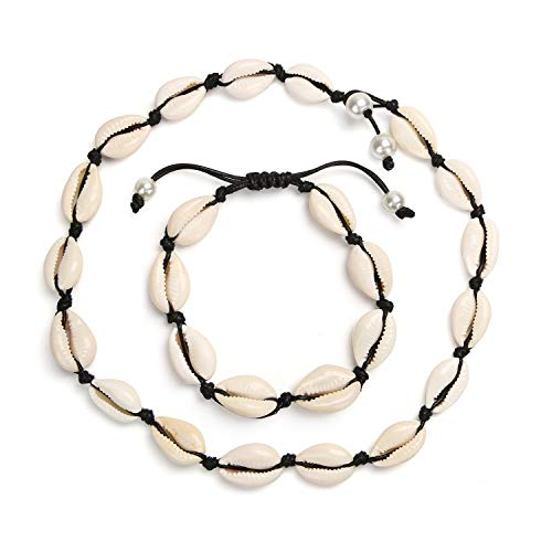 - Neovoo Natural Shell Choker Necklace Handmade Adjustable Cowrie Shells Hawaii Wakiki Beach Seashell Necklace and Anklet Bracelet Jewelry for Women Girls