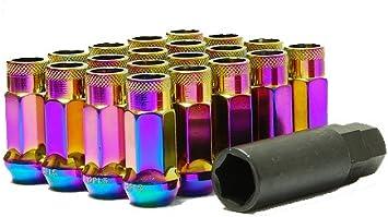 SPLINE 21mm MUTEKI WHEEL LOCK LUG NUT 12x1.5 M12 P1.5 PURPLE OPEN END w// key a