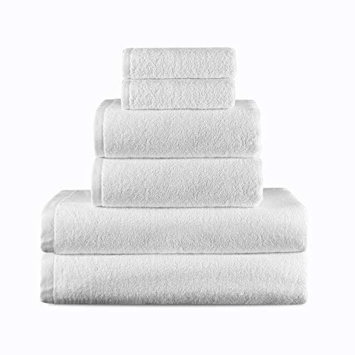 VIP Guest Supplies Luxury Hotel & Spa Quality 6 Piece Towel Set -2 Bath Towels, 2 Hand Towels, 2 Washcloths - Premium Turkish Cotton Bamboo Maximum Softness and Durability - Extra Large - Bulk, White