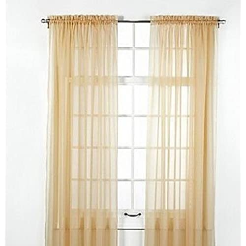 Gorgeous HomeDIFFERENT COLORS 2 PANELS 55 WIDE X 63 LENGTH FOR EACH PANEL SOILD WINDOW SHEER CURTAINS TREATMENT ROD POCKET DRAPE GOLD