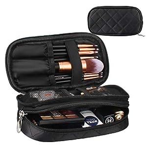 MONSTINA Makeup Bag for Women With Mirror,Pouch Bag,Makeup Brush Bags Travel Kit Organizer Cosmetic Bag (Black)