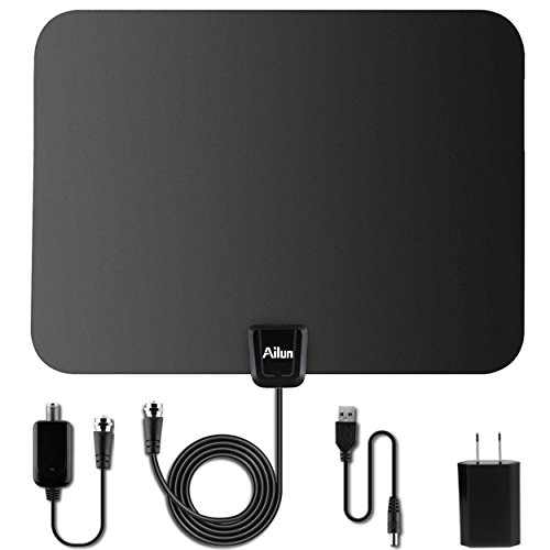 TV Antenna,by Ailun,Ultra Thin Indoor HDTV Antenna for High Reception,50 Mile Range with Detachable Amplifier Signal Booster for UHF VHF PowerSupply,16.4ft Coaxial Cable[Black]