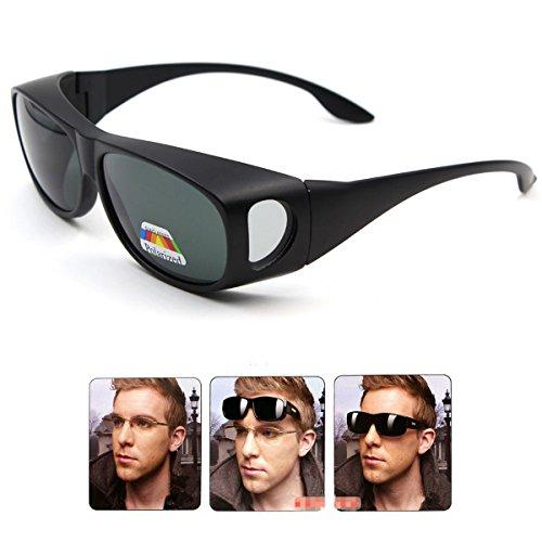Wear Over sunglasses for men women Polarized lens,fit over Prescription Glasses UV400 (Matte Black, as the - Lenses Sun Prescription