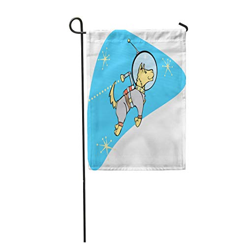 Semtomn Garden Flag Astronaut Retro Space Dog Jet Pack Atomic Age Rocket 12