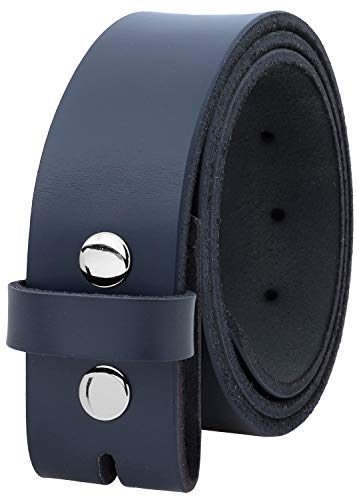 Navy Buckle - Falari Replacement Genuine Leather Belt Strap Without Buckle Snap on Strap 1.5