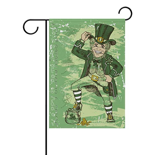 WIHVE Spring Patricks Flag 12 X 18 Inch Double Sided, St Patricks Day Leprechaun with Hat Smiling Dwarf Shamrocks Holiday House Flag Vertical Polyester Home Banner for Yard Outdoor Decor