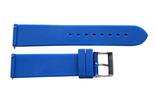 18mm 2 Piece Ss Divers Silicone Navy Blue Interchangeable Replacement Watch Band Strap