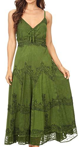 Sakkas 4012 Stonewashed Rayon Embroidered Adjustable Spaghetti Straps Long Dress - Green - S/M