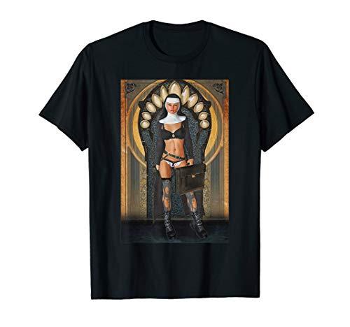 Hot Sexy Nun Nude Pin Up Girl Black Lingerie Sleeve Shirt]()